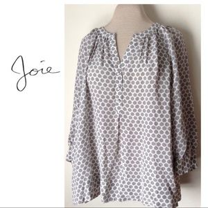 JOIE SILK TOP GREY IVORY HONEYCOMB IZZY PULLOVER